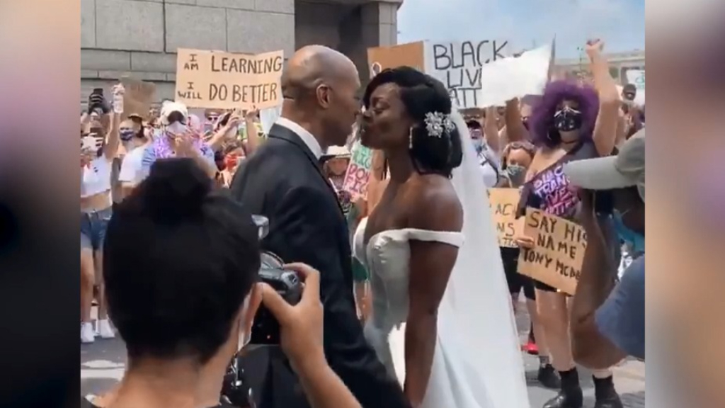 Newlyweds join Black Lives Matter protesters moments after saying 'I do'