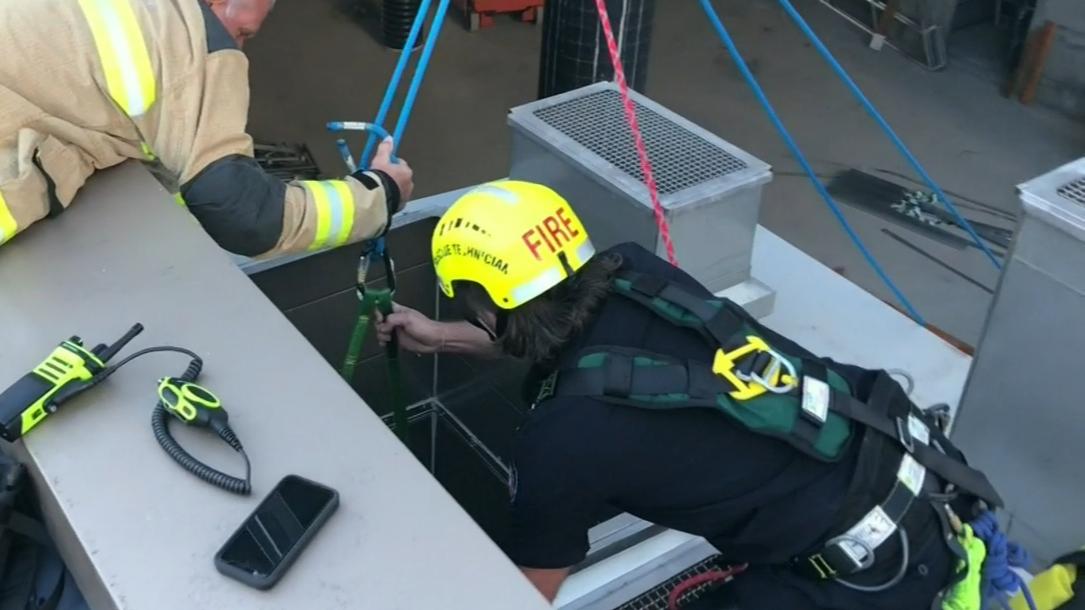 Man survives fall down air conditioner shaft