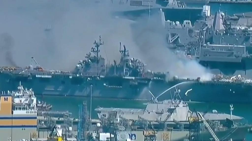 Huge explosion rocks US Navy ship