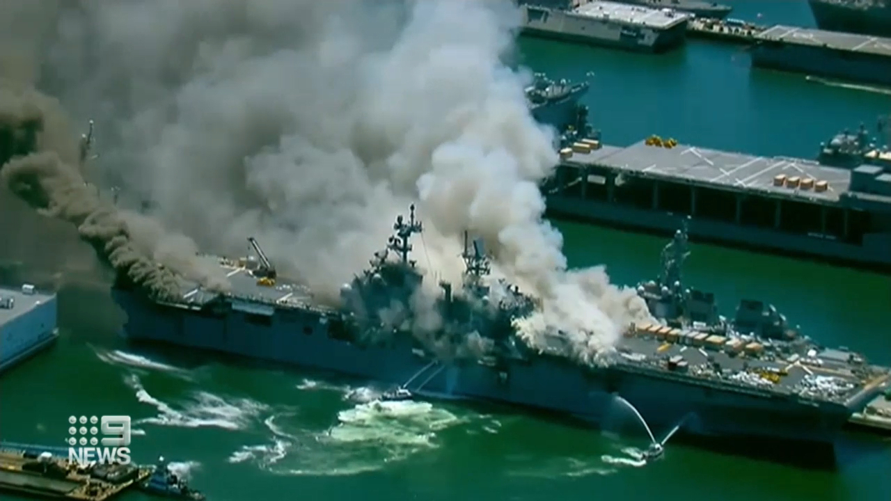 Huge explosion rocks US Navy ship
