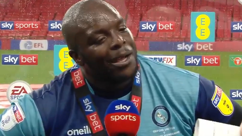 Akinfenwa's classic reaction to reaching the Championship