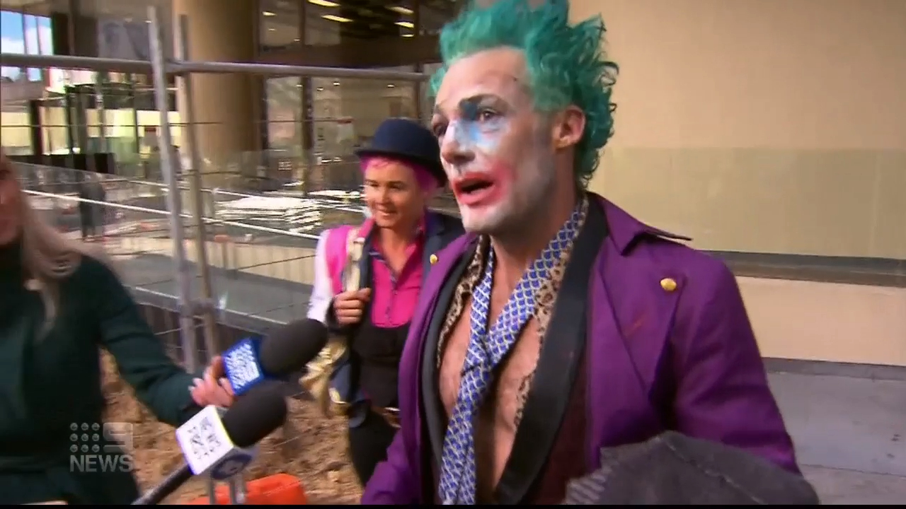 Perth's 'Joker' speaking to reporters outside court on Tuesday