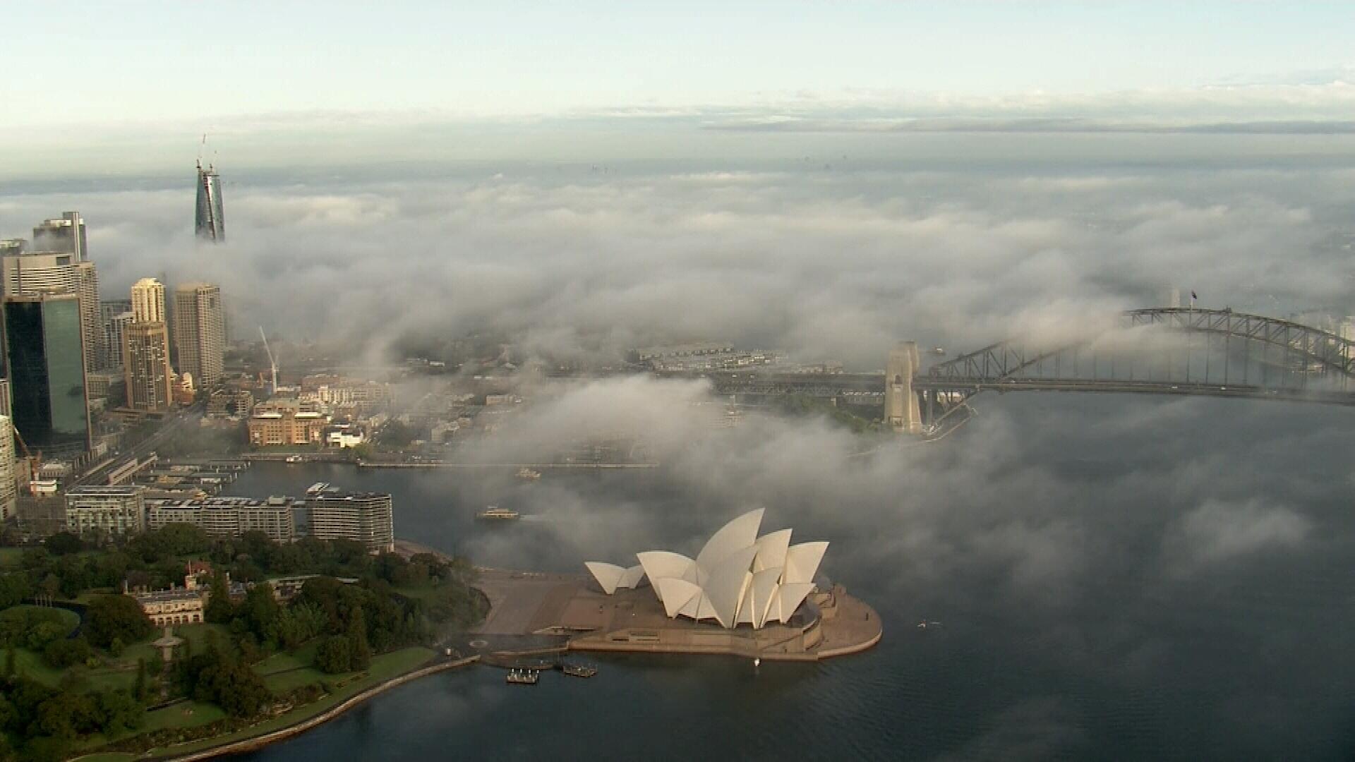 Thick fog sweeps through Sydney