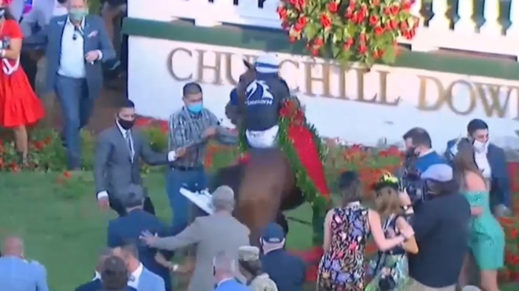 Kentucky Derby winner causes havoc in the paddock