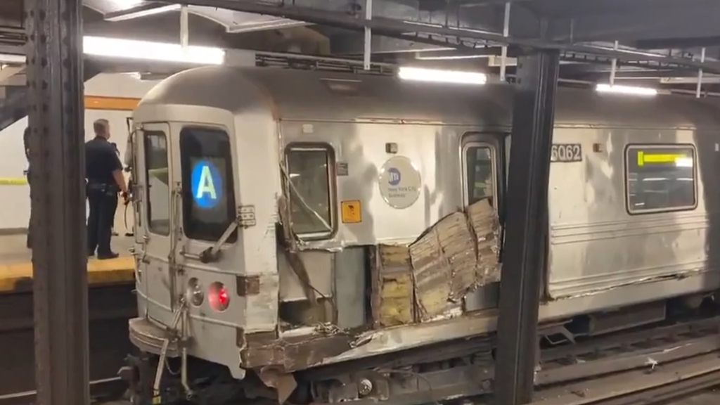 New York subway train derailed