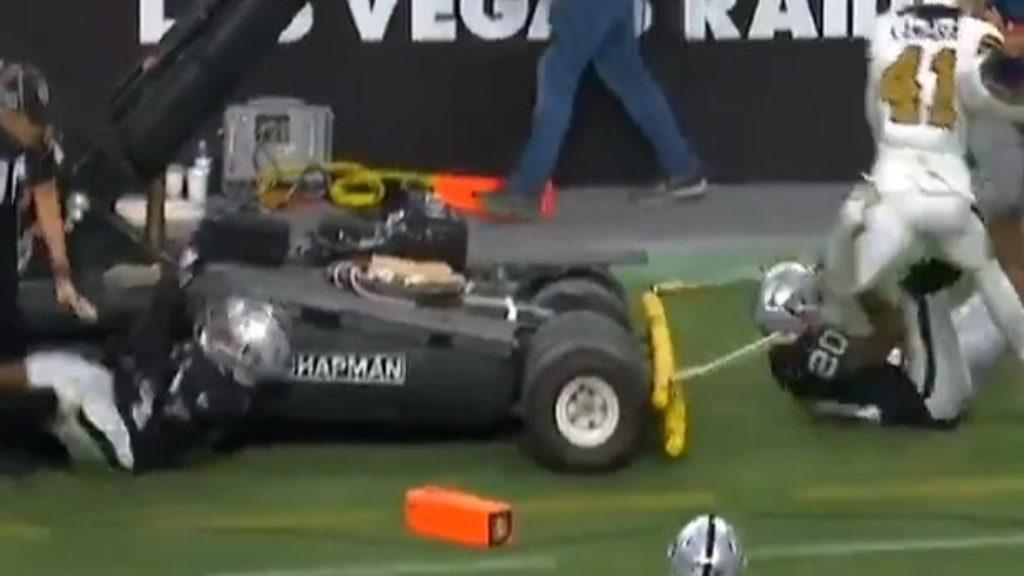 Raiders player in ugly collision with TV equipment