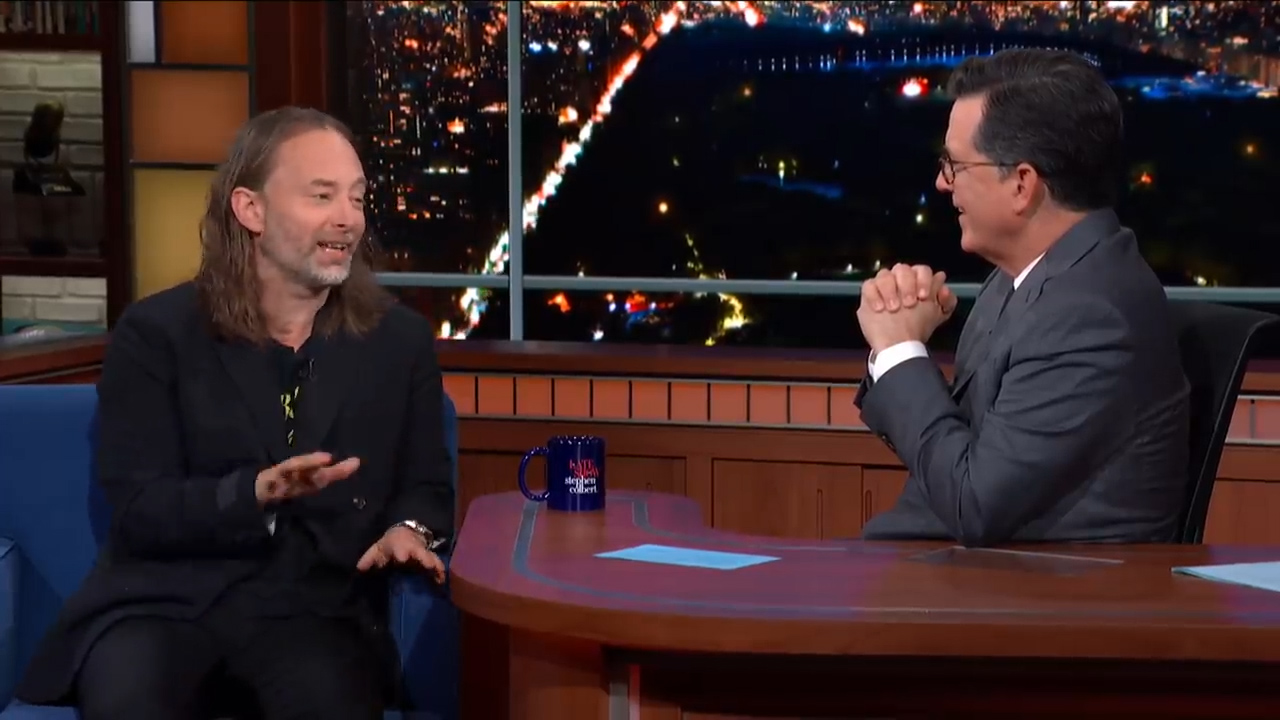 Thom Yorke chats with Stephen Colbert