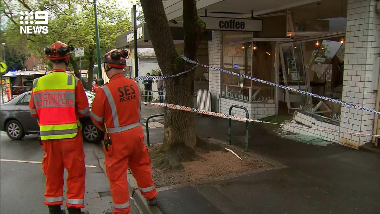 Car rams into woman while smashing through Melbourne coffee shop