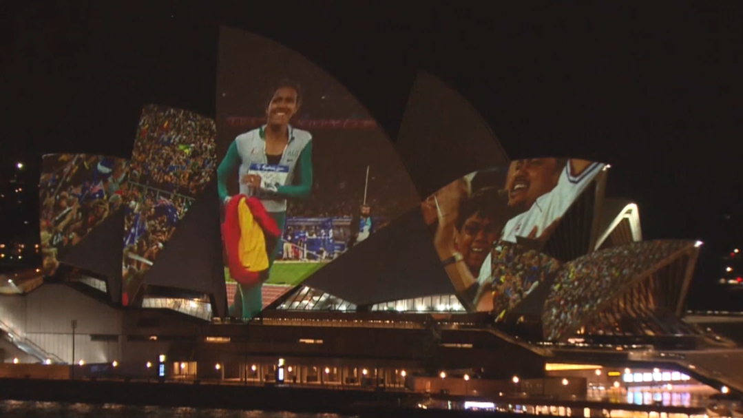 Cathy Freeman clip projected onto the Sydney Opera house