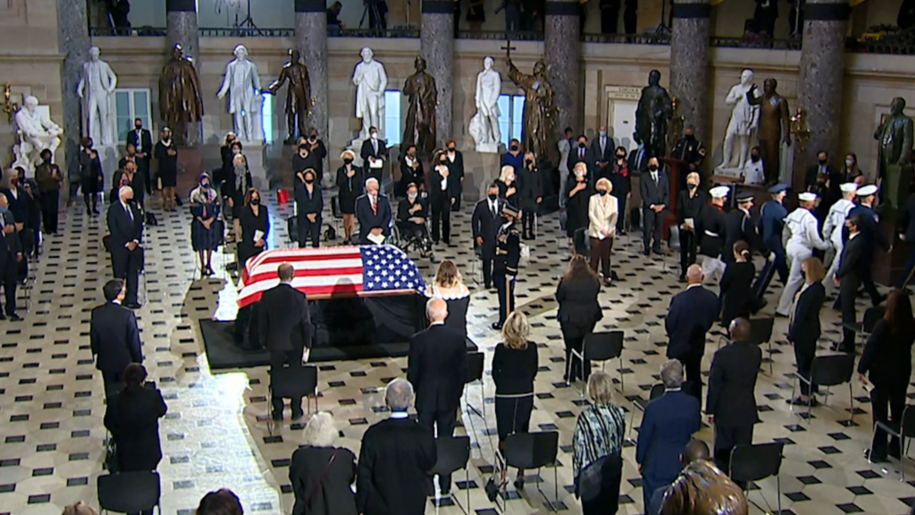 Ruth Bader Ginsburg's body lies in state at US Capitol