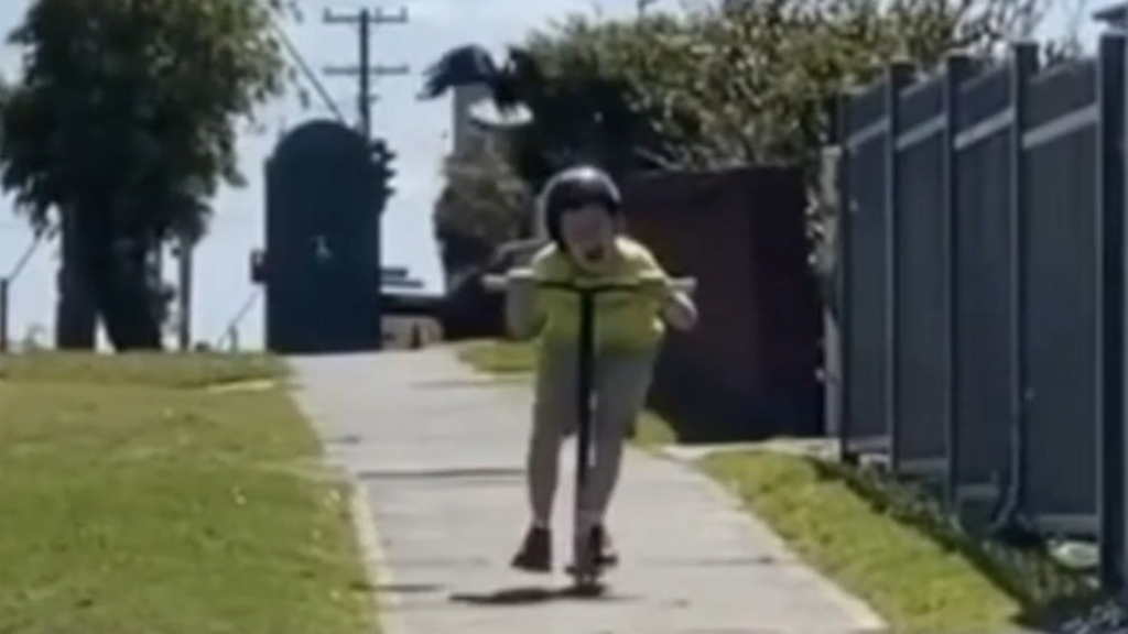 Boy on scooter swooped by magpie