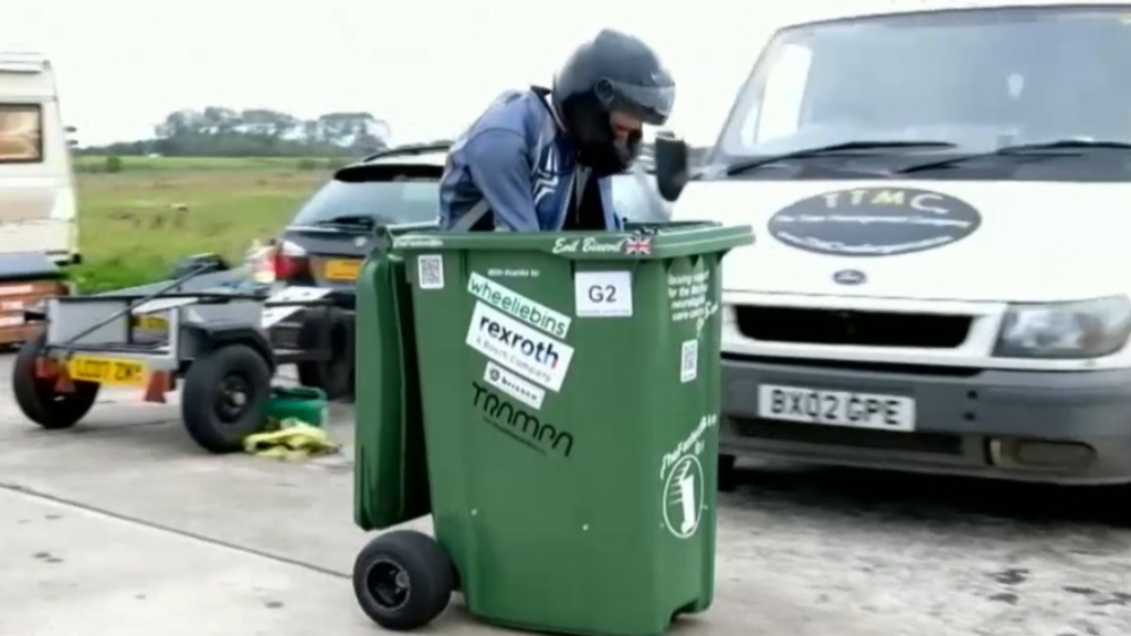 British engineer breaks wheelie bin world record time
