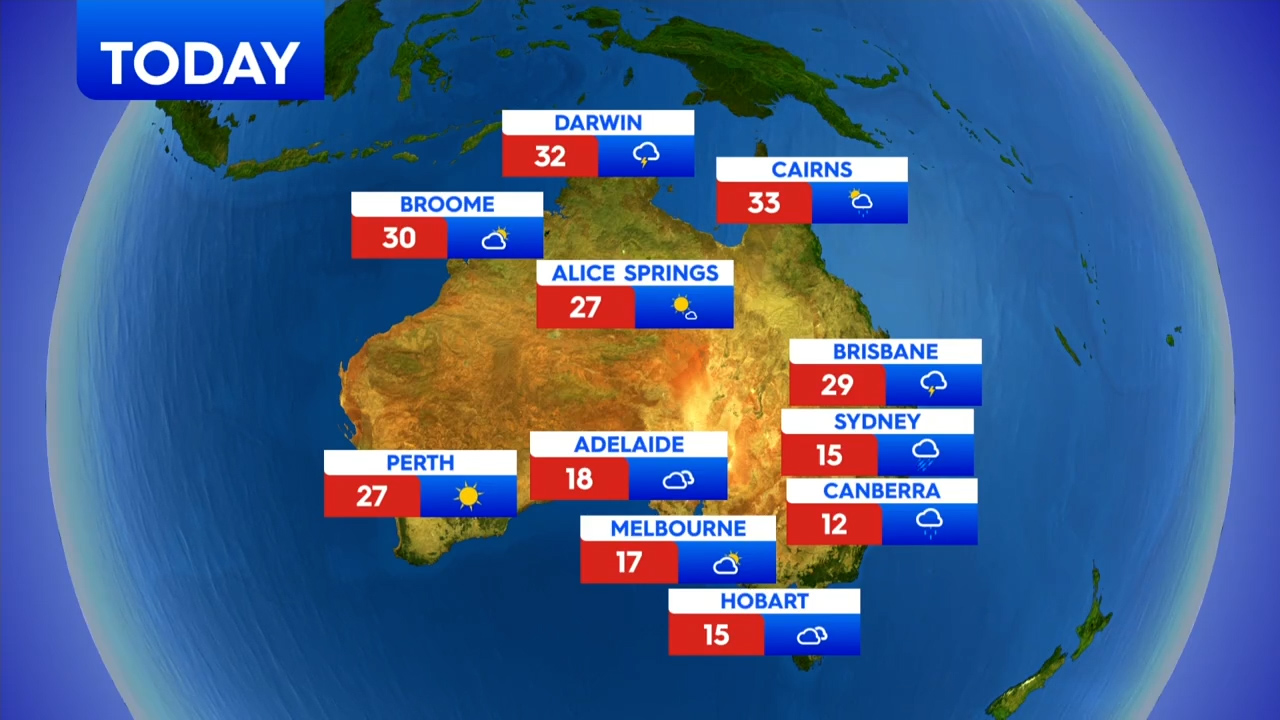 National weather forecast for Monday , October 26