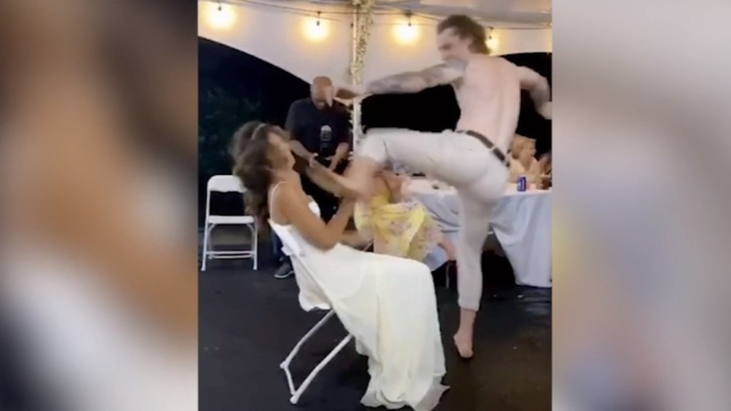 Moment groom's lap dance goes horribly wrong