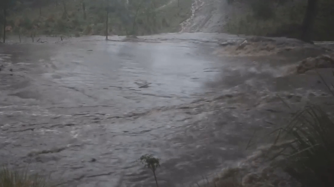 Surging flood waters on the Condamine River