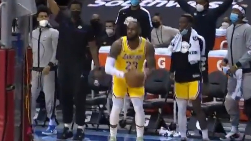 LeBron James stares at his teammates after taking three-point shot