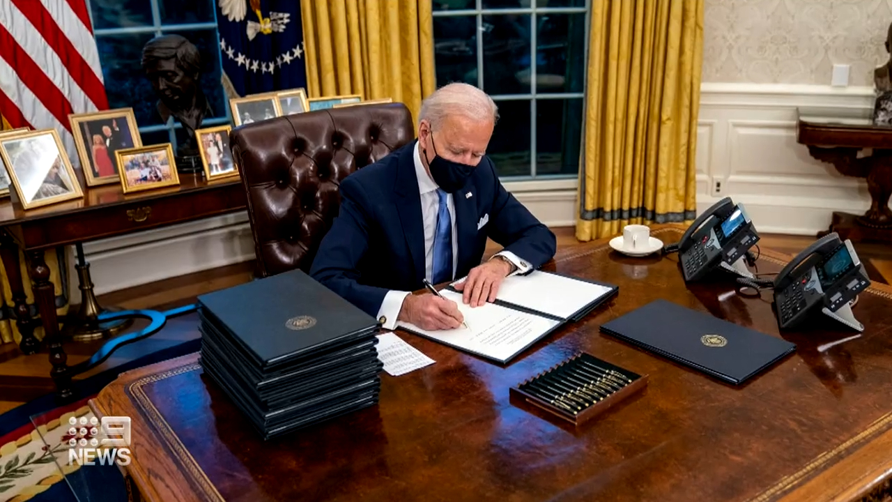US President Joe Biden's first day in office
