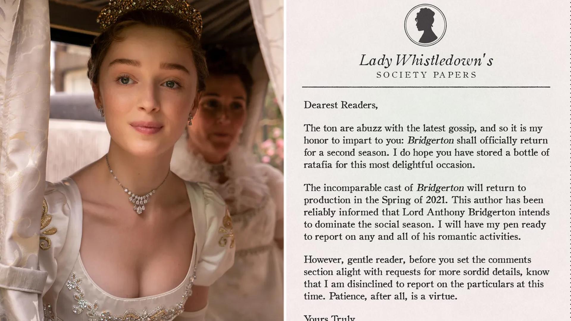 Bridgerton renewed for Season 2 at Netflix