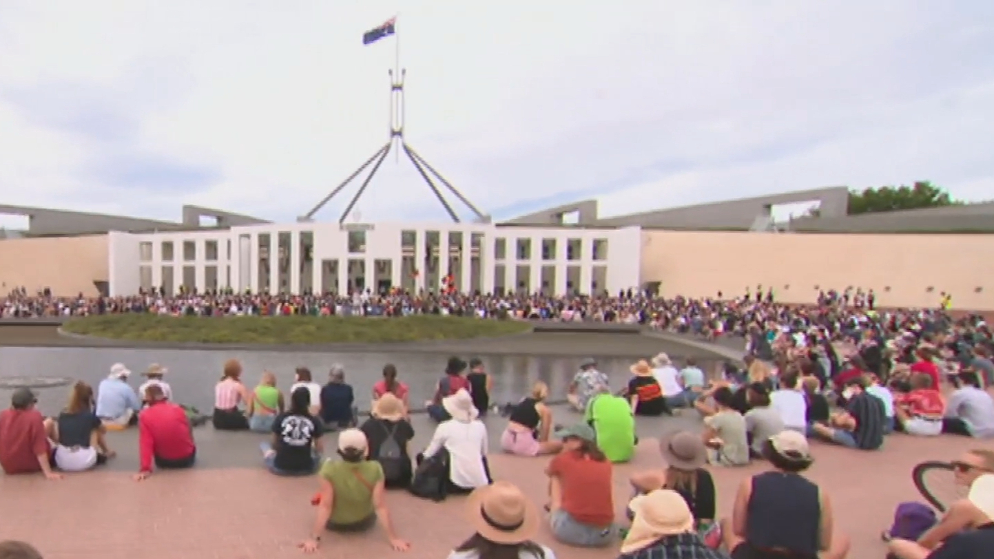 Peaceful Australia Day protest outside Parliament