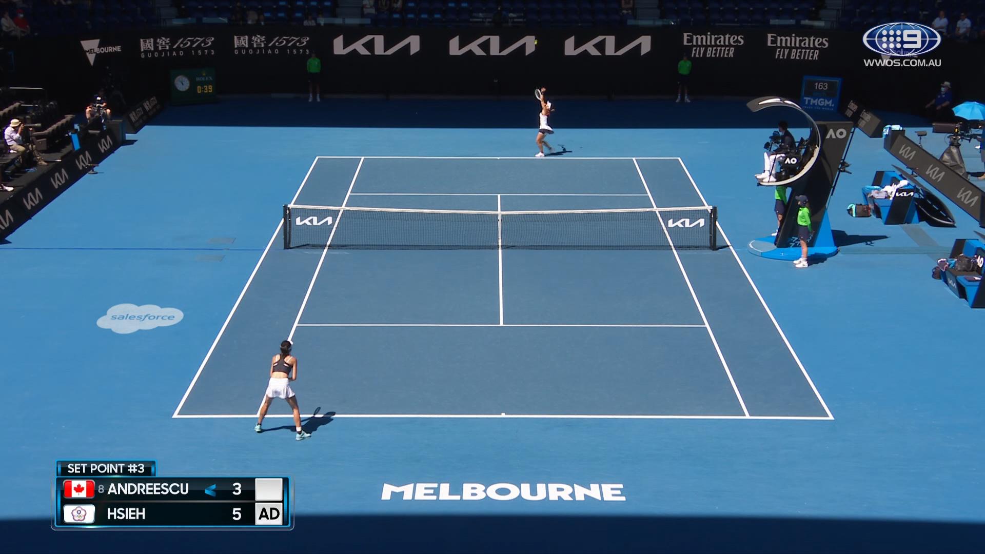 Australian Open: Bianca Andreescu v  Su-Wei Hsiehin