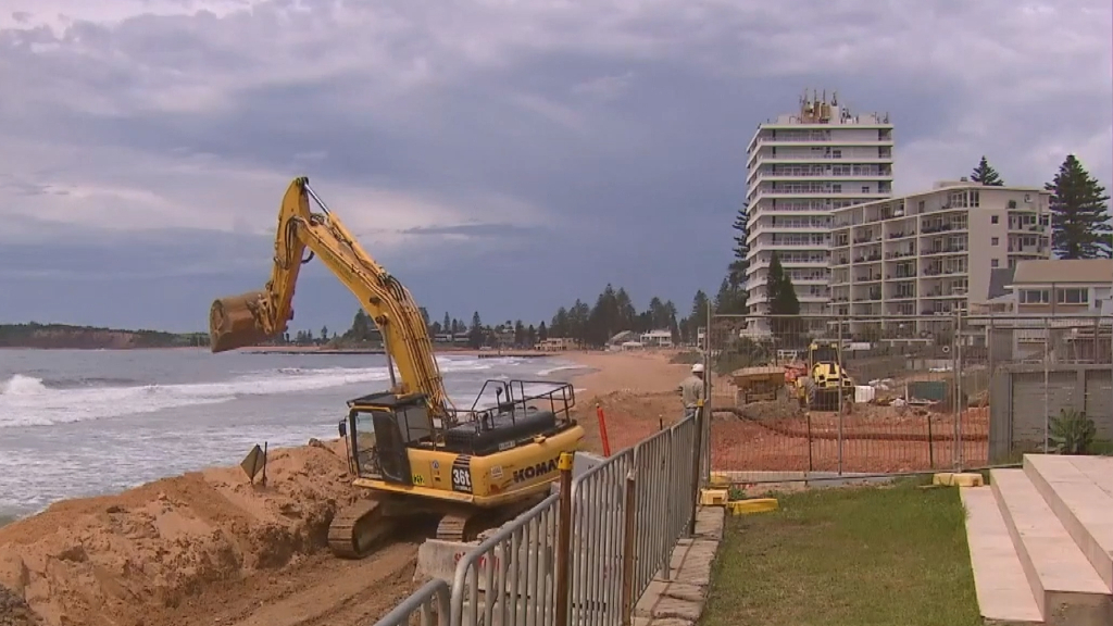 The construction of the Collaroy-South Narrabeen seawall begins