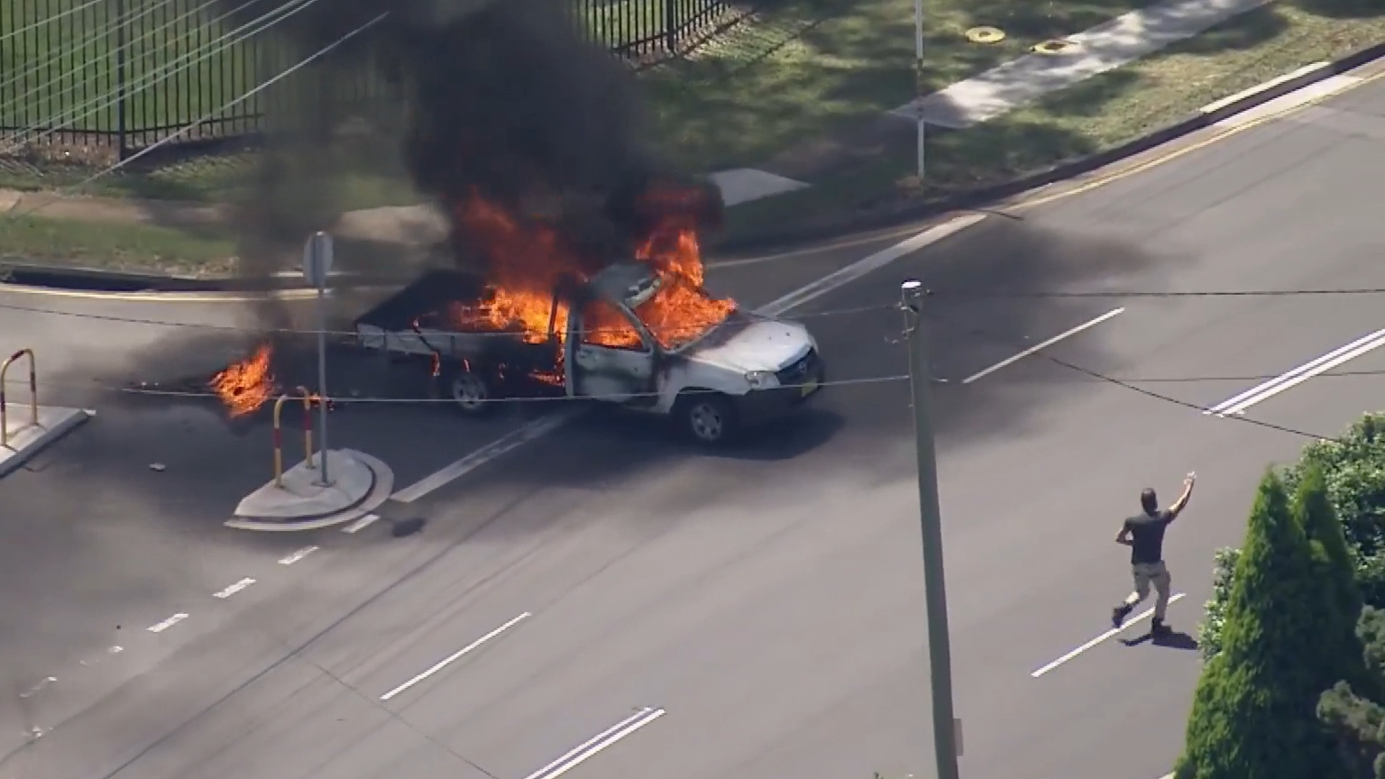 Ute engulfed by flames in Sydney's south west