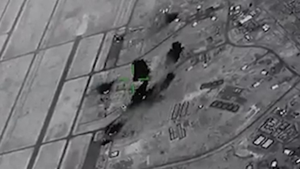 Unclassified footage of tactical ballistic missile strikes on Al Asad airbase on January 8, 2020
