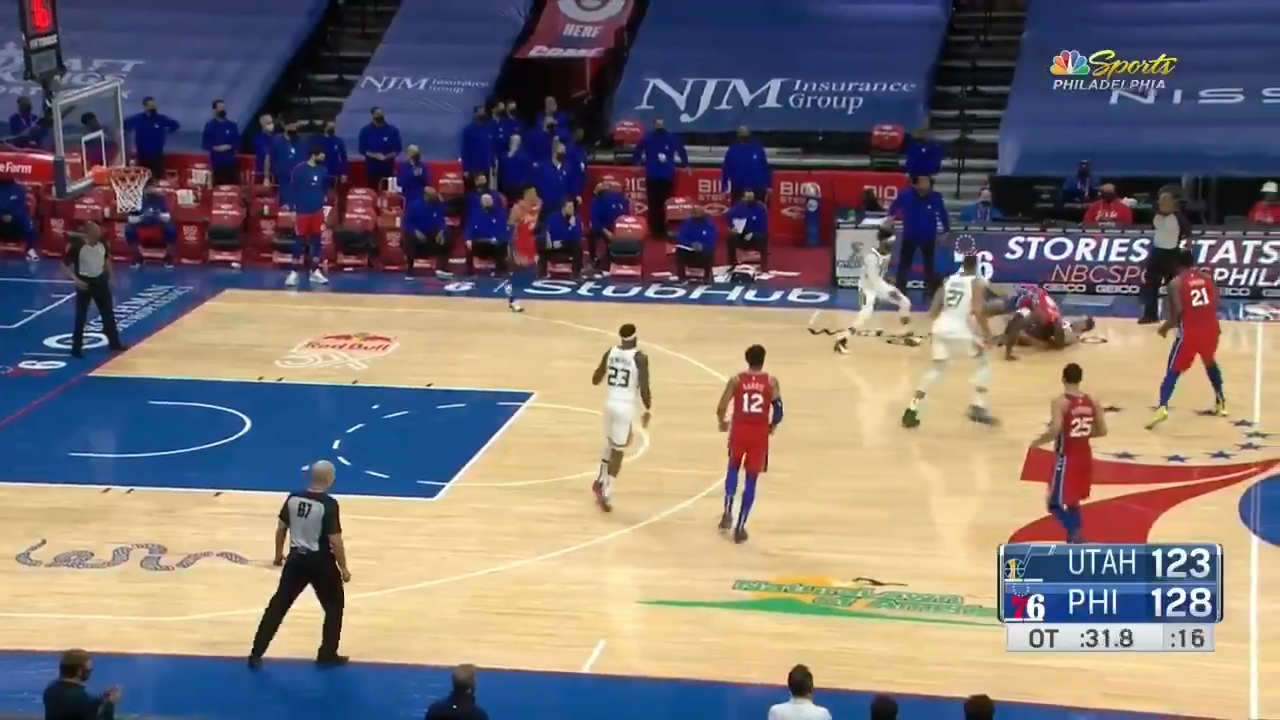 Mitchell ejected in Jazz loss to 76ers