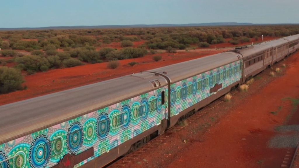 Australia's most iconic passenger train transformed into moving masterpiece