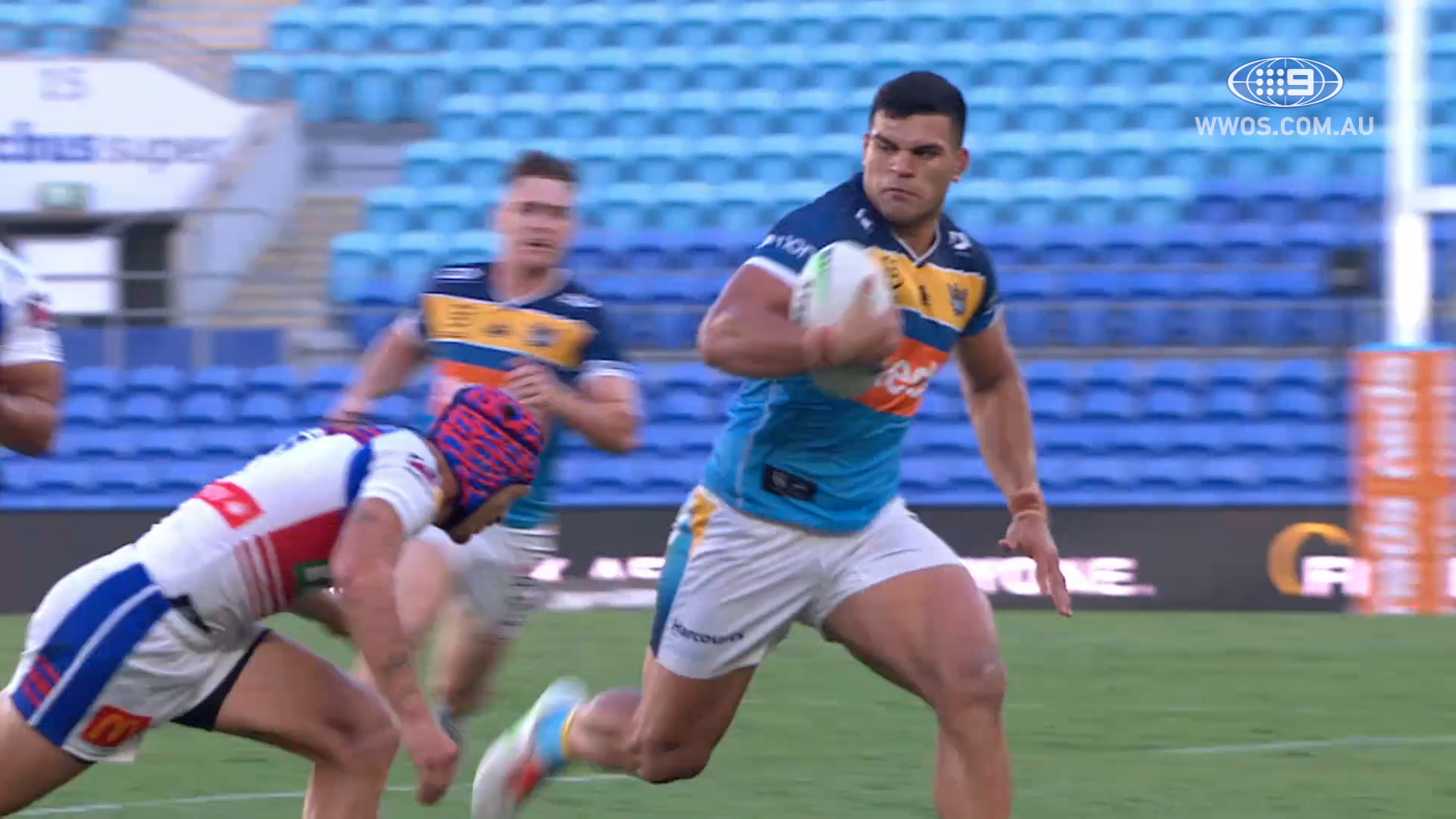 NRL Highlights: David Fifita leads the Titans to a huge win over the Knights.