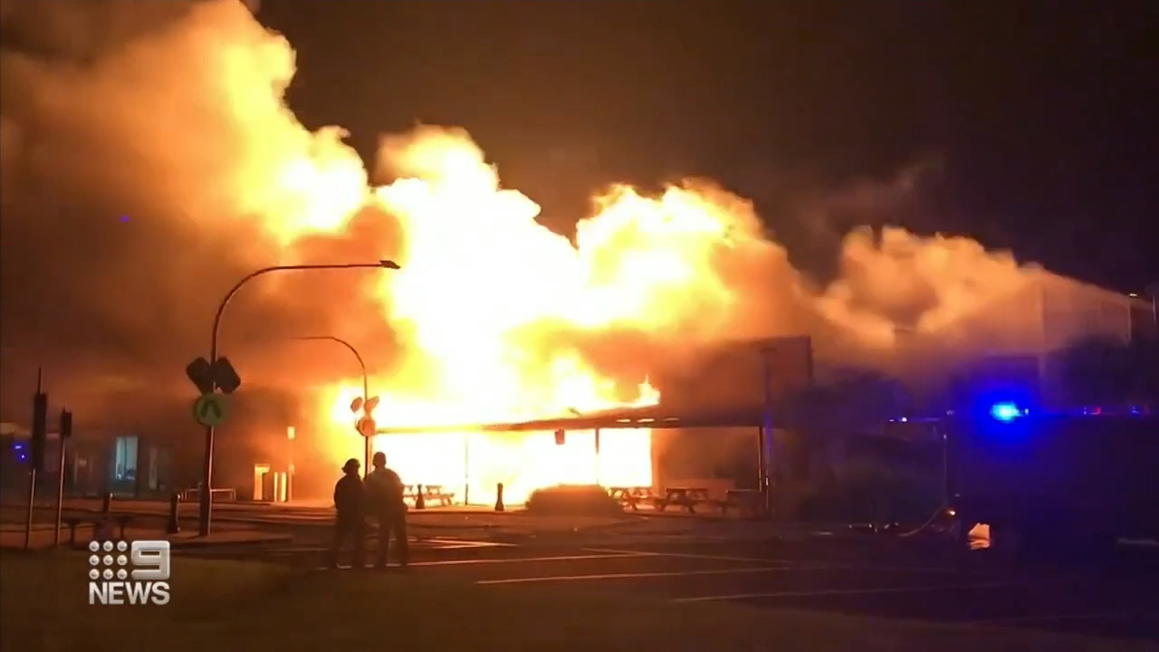 A fire has destroyed several businesses in Apollo Bay
