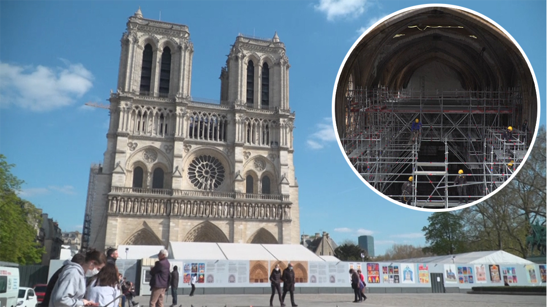 Notre Dame cathedral progress two years after devastating fire