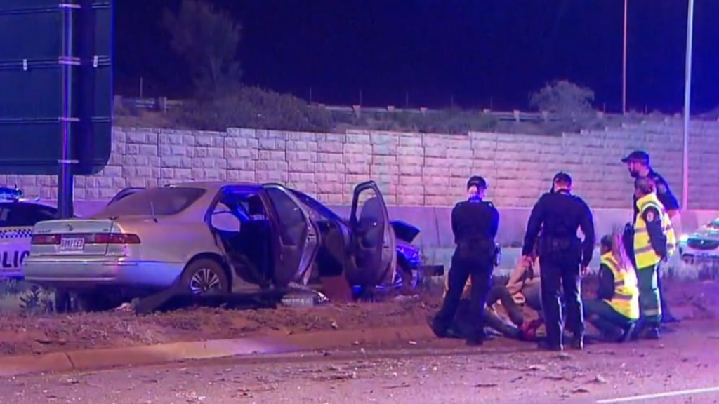 Three arrested after crash in stolen car