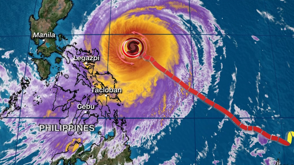 Typhoon Surigae passes by the Philippines
