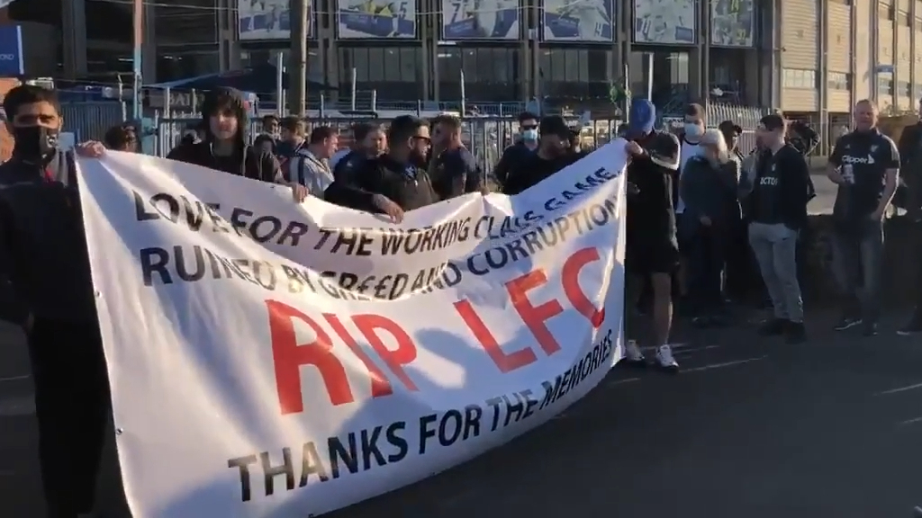 Fans protest Super League at Elland Road