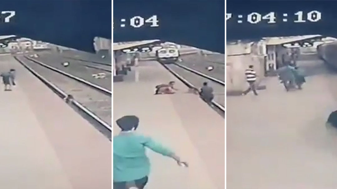 See the moment a child is saved from oncoming train