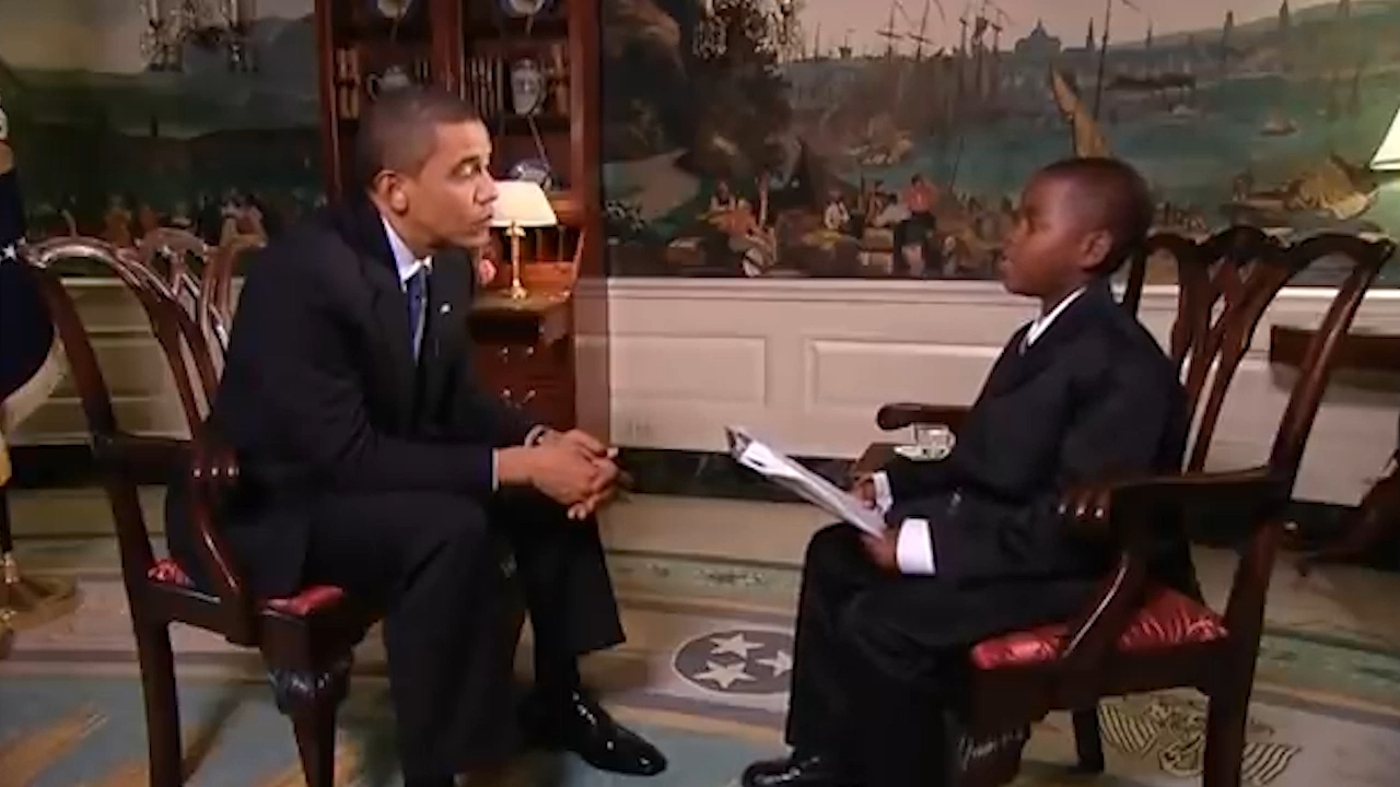 Student reporter Damon Weaver interviewed President Barack Obama in 2009