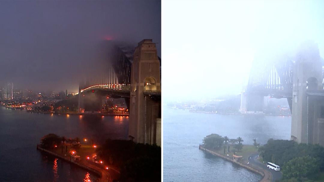 Timelapse: Thick fog rolls through Sydney Harbour