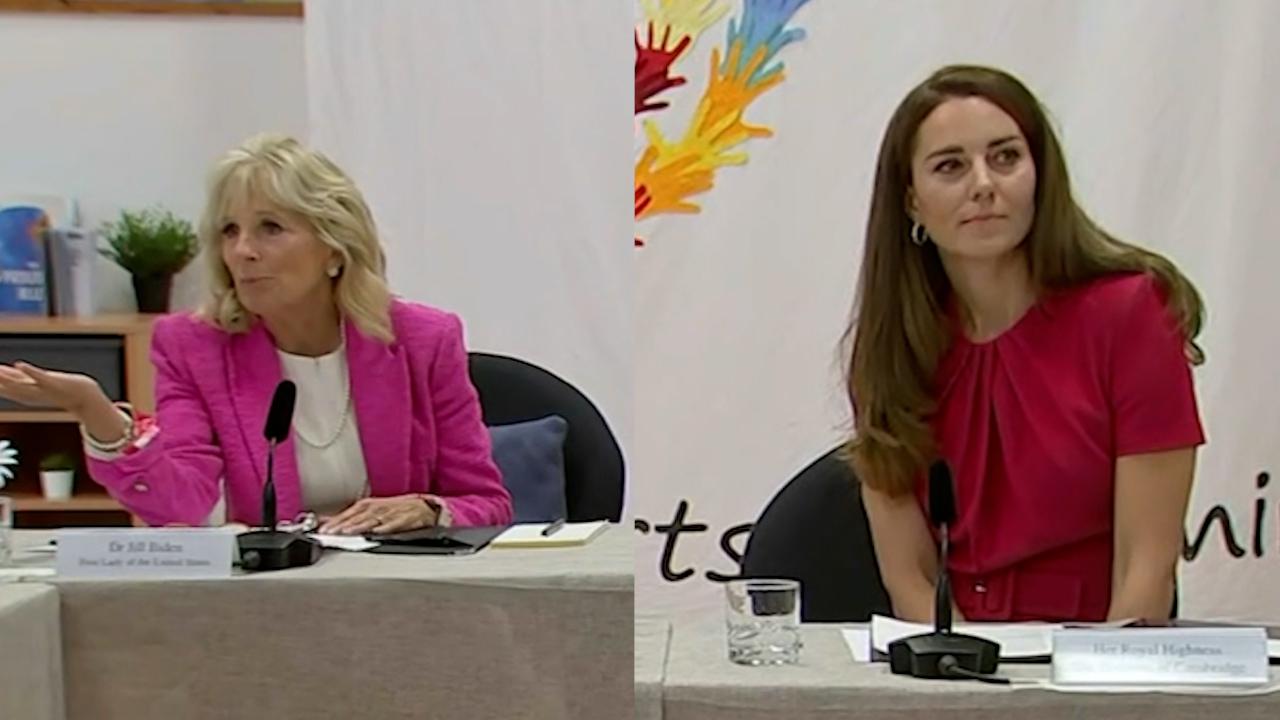 Kate Middleton and Jill Biden visit school in Cornwall