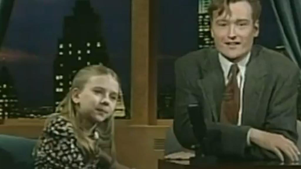 Scarlett Johansson reflects on her first appearance on Conan O'Brien's talk show