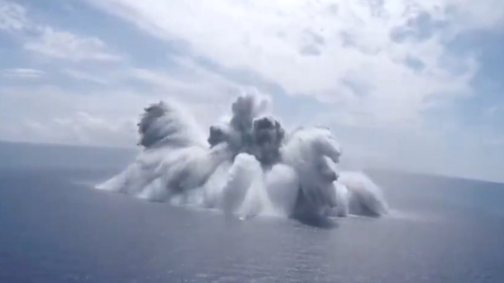 US navy releases video of moment bomb explodes off the coast of Florida