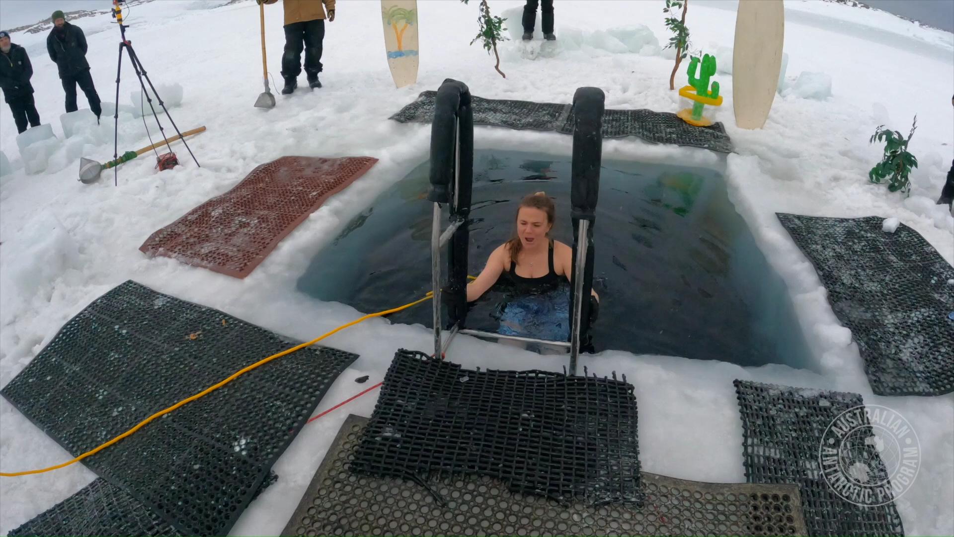 Antarctic researchers celebrate mid-winter with sub-zero swim