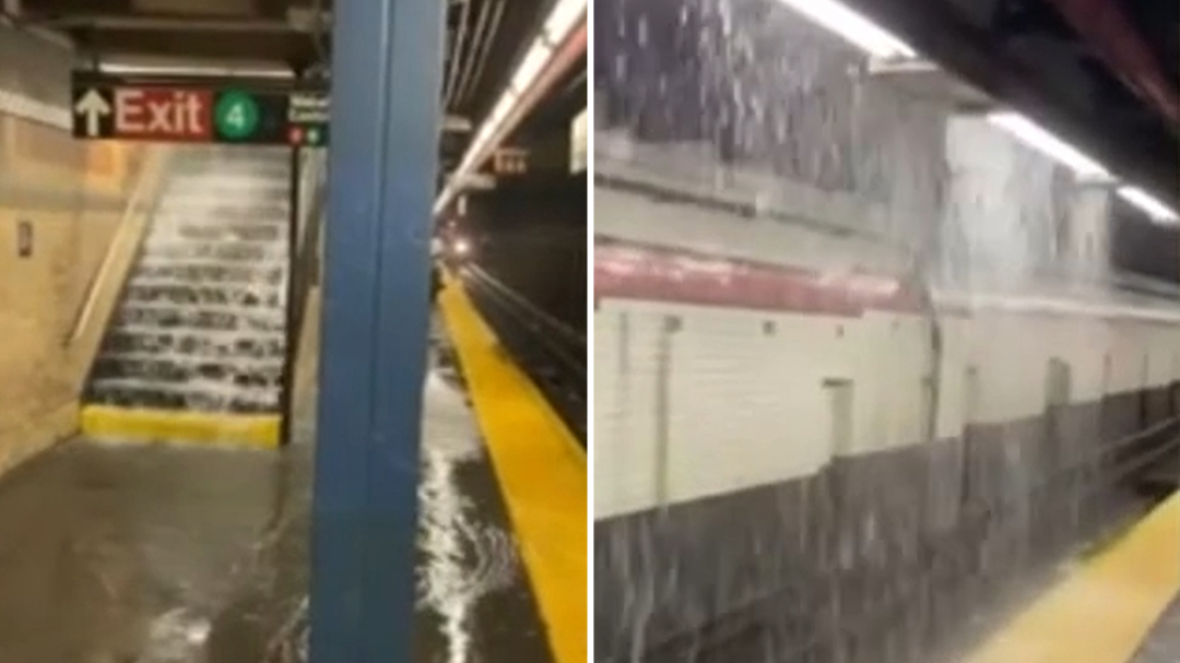 NYC subway floods after heavy storms