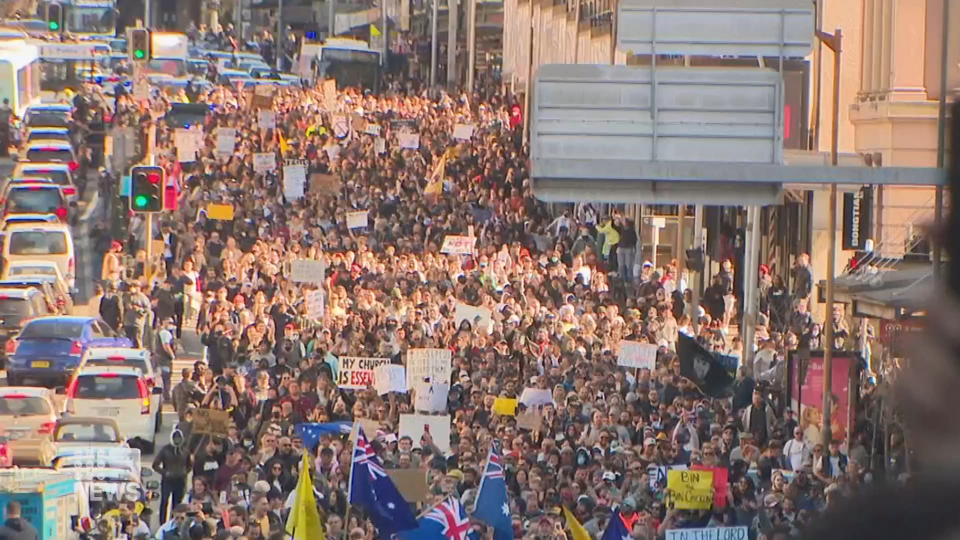 Chaos as thousands gather for anti-lockdown protests