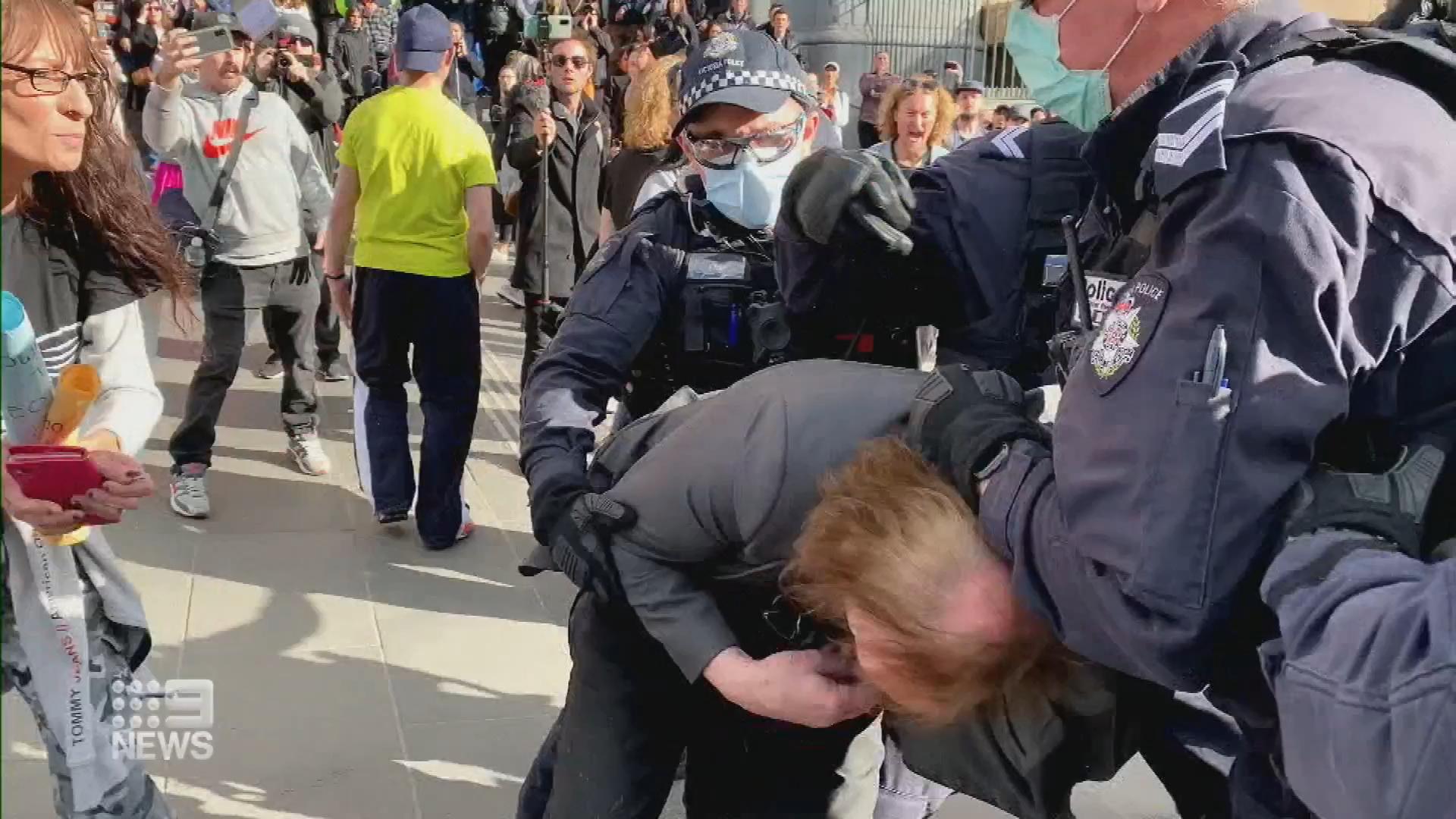 Anti-lockdown protests in Melbourne
