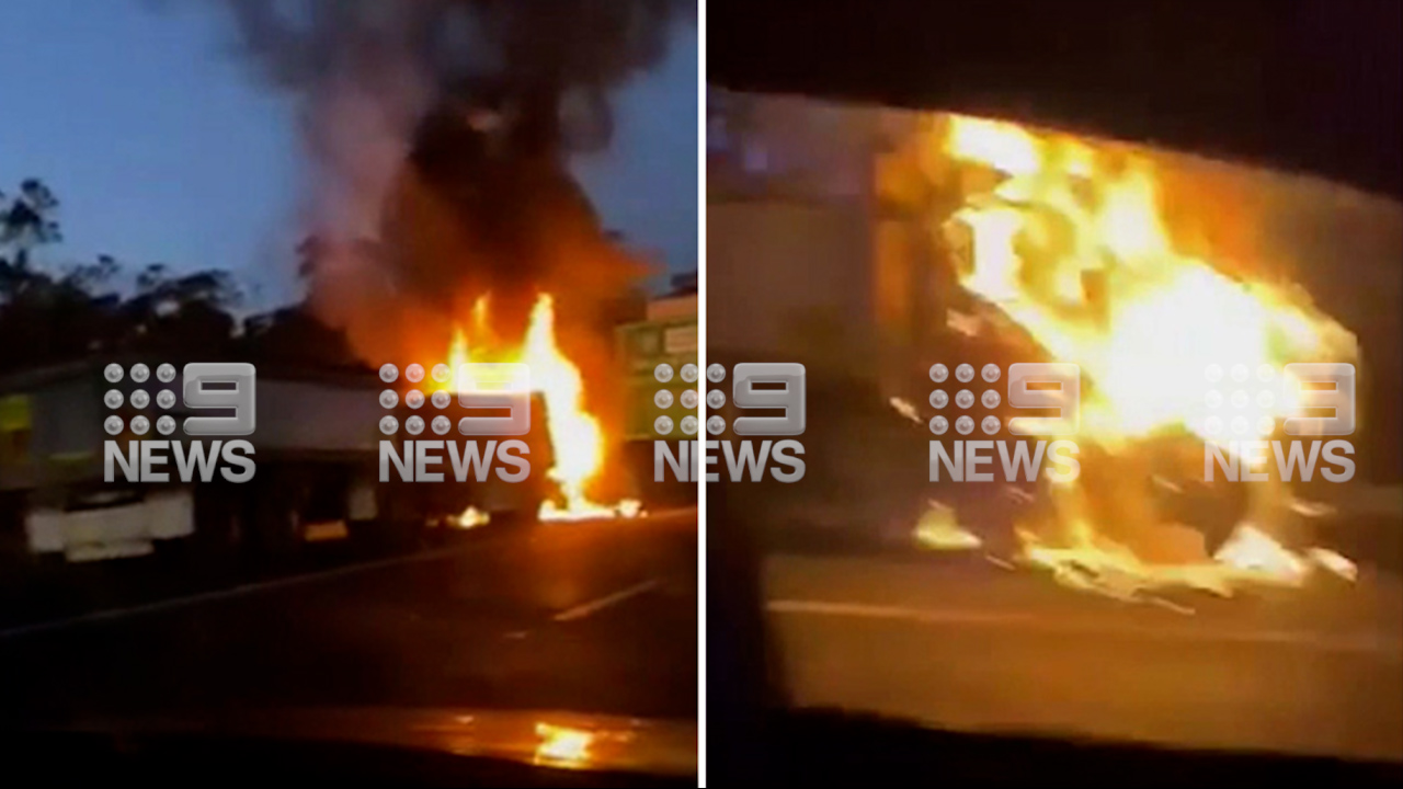 Truck fire causes traffic standstill on M1 on Gold Coast