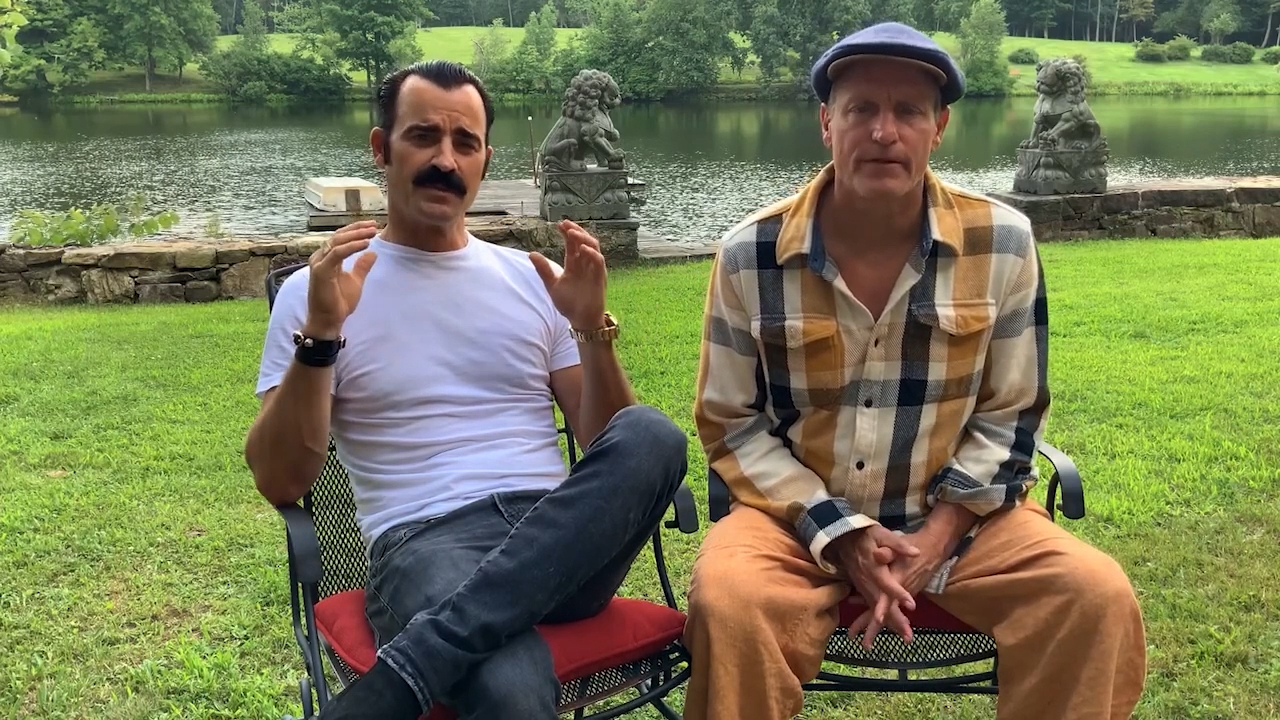 Justin Theroux and Woody Harrelson team up for sweet birthday tribute to TV legend