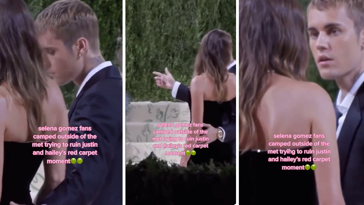 Fans chant 'Selena' to Justin and Hailey Bieber at the Met Gala