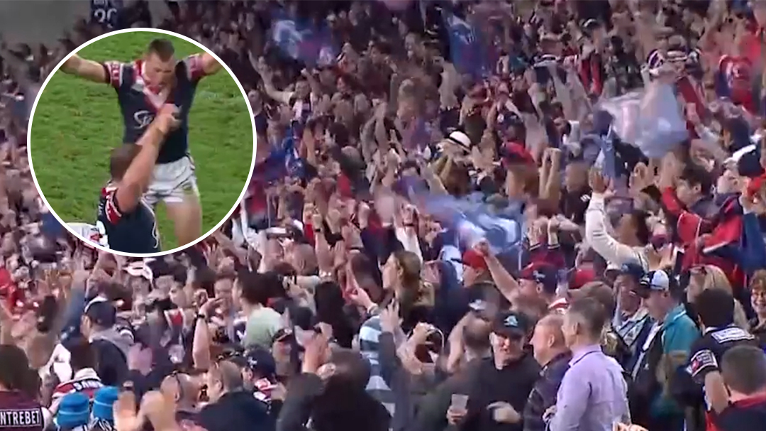 Roosters players celebrate after 2013 finals win