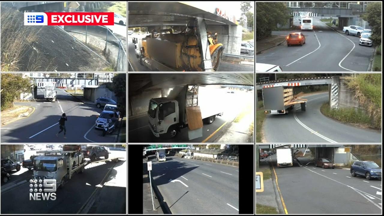 Exclusive video shows vehicles slamming into bridges on Queensland roads
